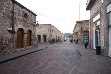 A street in the city center, Morelia, Michoacan, Mexico.