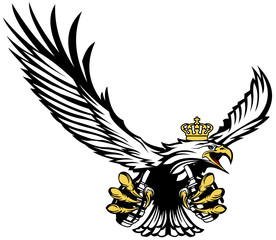 Polish Air Forces - White eagle in a crown with a grenades