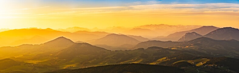 Landscape view during sunset in spring from Graz Schockl mountain in Styria Austria. Tourist destination Wall mural