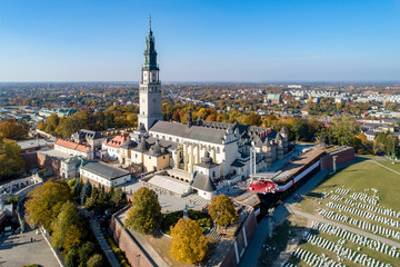 Poland, Częstochowa. Jasna Góra fortified monastery and church on the hill. Famous historic place and Polish Catholic pilgrimage site with Black Madonna miraculous icon. Aerial view in fall