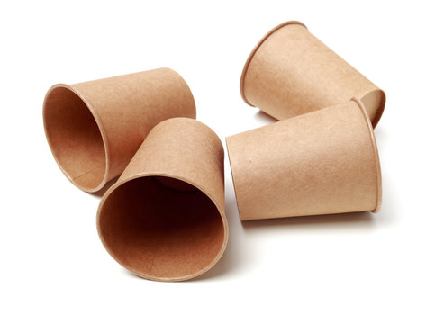 brown paper parchment coffee cups on white background