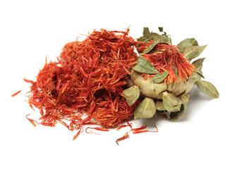 Dried safflower on white background
