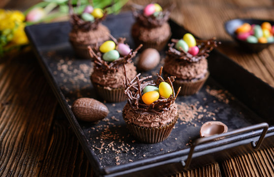 Easter nest cupcakes with chocolate whipped cream
