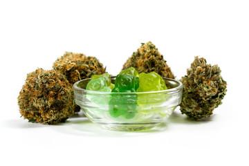Fototapeta marijuana edibles over white obraz