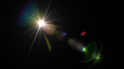 Lens flare glow light effect on black background. Easy to add overlay or screen filter over photos