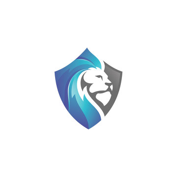 Lion Leo Head and Shield Logo Icon with Modern 3D Gradient Color Style