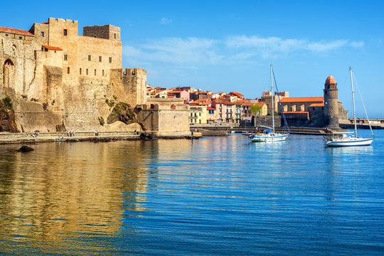 Collioure, France, the Old town with Royal castle and church