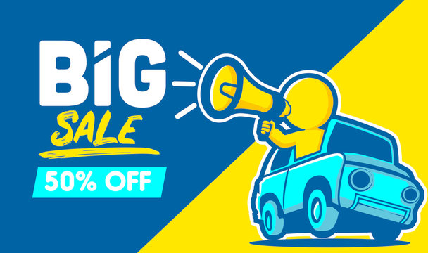 Big Sale banner designs, with cartoon character