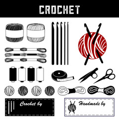 Crochet, DIY tools and supplies for crochet, tatting, and making lace: hooks, floss, thread, yarn, tape measure, bobbins, thread clips, embroidery scissors, sewing labels, copy space to personalize.