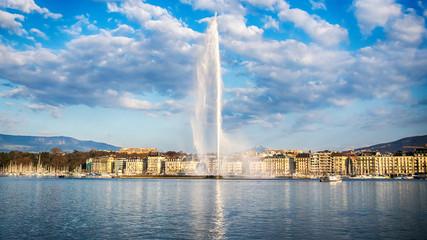 Picture of Jet d'Eau fountain and harbor in Geneva. Geneva, Switzerland.