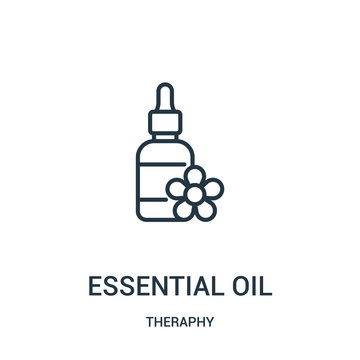 essential oil icon vector from theraphy collection. Thin line essential oil outline icon vector illustration.