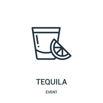 tequila icon vector from event collection. Thin line tequila outline icon vector illustration.