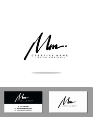M MM initial handwriting logo template vector.  signature logo concept