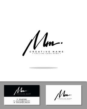 M MM initial handwriting logo template vector.  signature logo concept