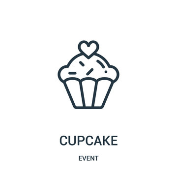 cupcake icon vector from event collection. Thin line cupcake outline icon vector illustration.