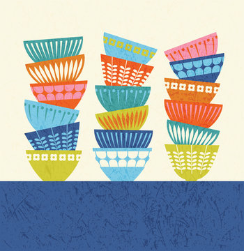 stacked colorful kitchen bowls with mid century modern designs. Vector illustration for posters, prints, greeting cards and invitations.