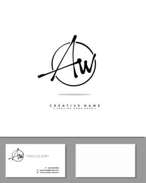 A W AW initial handwriting logo template vector.  signature logo concept