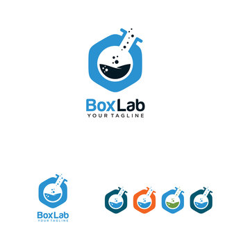 box lab logo with laboratory glass and box combination vector