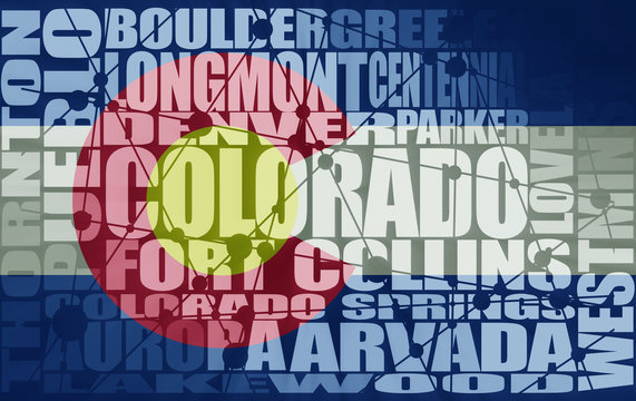 Image relative to USA travel. Colorado state cities list textured by flag