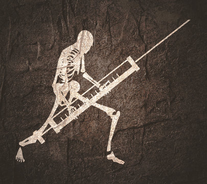 Abstract image relative to drugs addiction. Pharmacy and medicaments. Skeleton silhouette holding isometry volumetric syringe