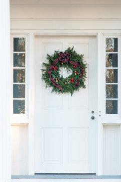 Christmas Wreath on Old Door