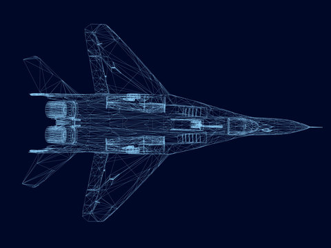 Wireframe of a fighter of blue lines on a dark background. View from above. 3D. Vector illustration