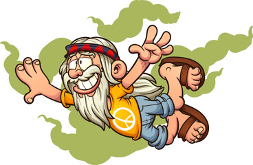 Flying old cartoon hippie man clip art. Vector illustration with simple gradients. Man and smoke on separate layers.