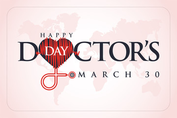 30 Mart Dünya Doktorlar Günü. Translation: March 30,  World Doctor's Day. concept greeting card, National Doctors Day Template calligraphy, vector, illustration.