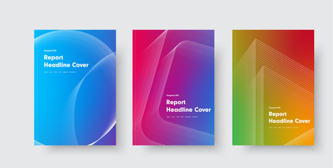 Wall Mural - Design of vector minimalistic covers with gradient and geometric intersecting line shapes.
