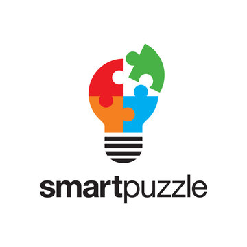 illustration logo combination from puzzle with lightbulb logo design concept