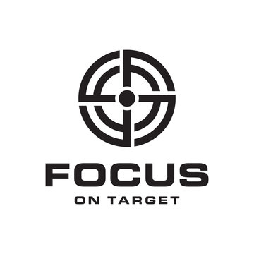 initial letter F with focus target logo design template
