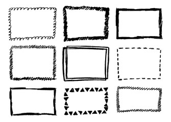 Hand Drawn Vector Frames Collection Isolated on White