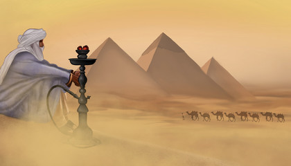 Desert landscape with the Egyptian pyramids and the image of a Bedouin man looking into the distance. Hookah on the sand in the desert. The man smokes a hookah.