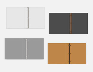 3 ring binder, realistic mock up. Set of white, gray, black, orange colors. Open folder, vector template
