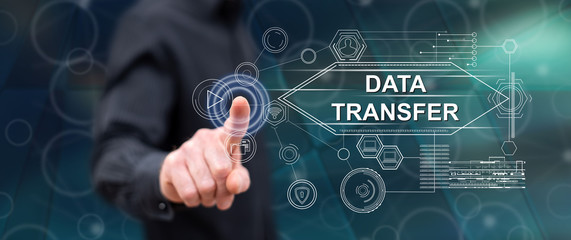 Man touching a data transfer concept