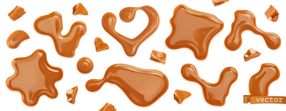 Caramel drops. 3d realistic vector set