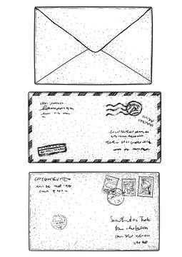 Mail envelope, sticker, stamp, illustration, drawing, engraving, ink, line art, vector