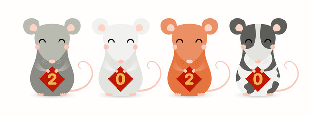 Hand drawn vector illustration of cute little rats holding cards with numbers 2020. Isolated objects on white background. Design element for Chinese New Year greeting card, holiday banner, decor.
