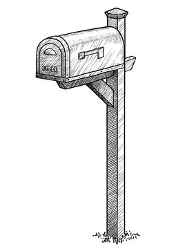 Mailbox illustration, drawing, engraving, ink, line art, vector