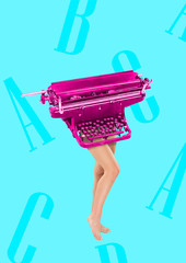 Obraz Copywriter has keyboard as a head and body. Typing with her brain. Female fit legs headed by pink retro typewriter on blue background. Business concept. Modern design. Contemporary art collage. - fototapety do salonu