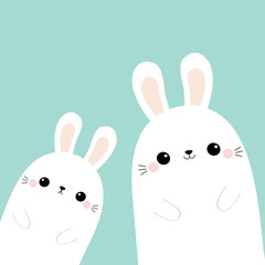 Two rabbit bunny in the corner. Friends forever. Cute cartoon kawaii funny baby character set. Happy Easter. Farm animal. Blue pastel background. Flat design
