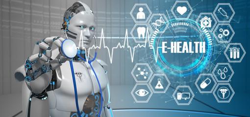 Fototapete - Humanoid Robot Stethoscope E-Health