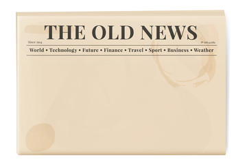 Blank template of a retro newspaper. Folded cover page of a news magazine.
