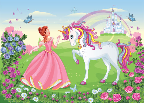Beautiful Princess with white unicorn. Cute fairy. Fairytale background with flower meadow, castle, rainbow. Wonderland. Magical landscape. Children's cartoon illustration. Romantic story. Vector.