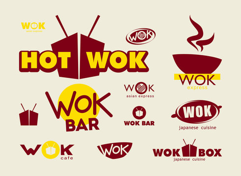 Wok icons, labels, signs, symbols and design elements