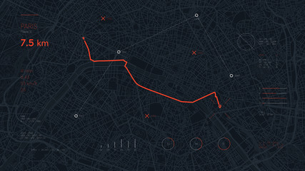Navigate device dashboard GPS tracking map, Futuristic mapping technology route of destination point and location on the streets of the city Paris