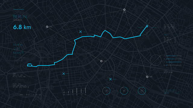 Futuristic route dashboard GPS tracking map, navigate mapping technology and locate position pin on the streets of the city Berlin