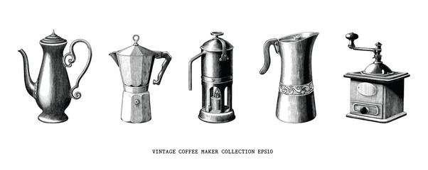 Vintage coffee maker collection hand draw black and white clip art isolated on white background