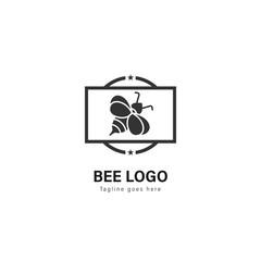 Bee logo template design. Bee logo with modern frame vector design