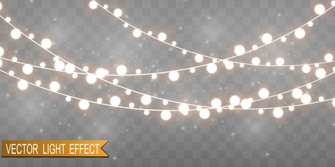 Christmas bright, beautiful lights, design elements. Glowing lights for design of Xmas greeting cards. Garlands, light Christmas decorations.  Wall mural